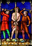 Stained Glass - Flagellation of Jesus Christ on Good Friday stock photography