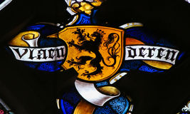 Stained Glass - Flemish Lion Royalty Free Stock Images