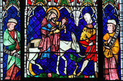 Stained Glass - Flight into Egypt Stock Image