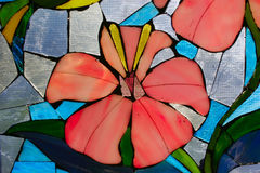Stained Glass Flower. Close-up of Stained Glass Window with Flower royalty free stock image