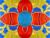 Stained glass flower. Flower design with clipping path around blue circle Stock Photos