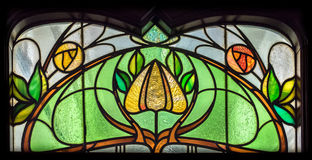 Stained Glass Flower. Ornate Victorian stained glass flower design Royalty Free Stock Photo