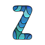 Stained glass font, letter z Stock Images