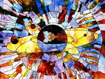 Universe of Colors. Stained Glass Forever series. Image of Saturn like planet executed with mosaic style on the subject of science, education, astronomy and Stock Photography