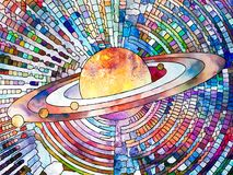 Universe of Colors. Stained Glass Forever series. Image of Saturn like planet executed with mosaic style on the subject of science, education, astronomy and Royalty Free Stock Images