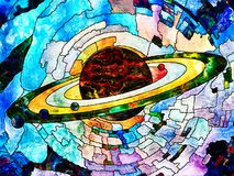 Universe of Colors. Stained Glass Forever series. Image of Saturn like planet executed with mosaic style on the subject of science, education, astronomy and Royalty Free Stock Photos