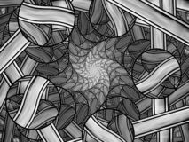 Stained glass fractal black and white abstract background. Stained glass fractal, computer generated abstract background, black and white, 3D rendering stock illustration