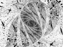 Stained-glass fractal spiral with particles black and white text Stock Photography
