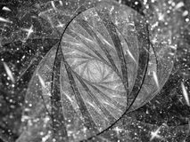 Stained-glass fractal spiral with particles black and white text Royalty Free Stock Images
