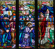 Stained Glass of French First World War soldiers praying with Je Royalty Free Stock Photo