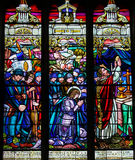 Stained Glass of French First World War soldiers praying with Je Royalty Free Stock Photos