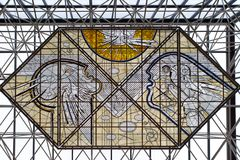 Stained glass in the fuel central hall of airport Keflavik Royalty Free Stock Image