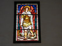 Stained glass George and the dragon. Royalty Free Stock Image