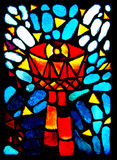 Stained glass goblet. Colorful stained glass with goblet royalty free stock photo