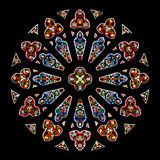 Stained glass in gothic cathedral Royalty Free Stock Image