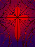 Stained glass gothic cross Royalty Free Stock Photos
