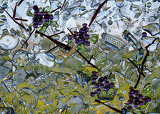 Stained glass grapes mosaic Royalty Free Stock Photo