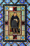Stained glass with Hamlet. Colored stained glass window Hamlet in badroom, in Barcelona Spain royalty free stock photography