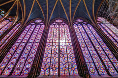 Stained glass Holy Chapel. Beautiful stained glass of the Sainte-Chapelle (Holy Chapel), a royal medieval Gothic chapel in Paris, France, on April 10, 2014 Royalty Free Stock Photos