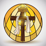 Stained Glass with Holy Cross Symbol Inside, Vector Illustration Stock Photo