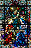 Stained Glass of the Holy Family. Jesus, Mary and Joseph on Stained Glass Royalty Free Stock Image