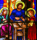 Stained Glass of the Holy Family in Madrid Cathedral Stock Images