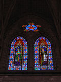 Stained Glass II. Stained Glass Windows in the Quito Basilica, Ecuador Stock Images