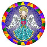 Stained glass illustration with an abstract angel in blue robe with a heart , round picture frame in bright. Illustration in stained glass style with an abstract stock illustration