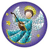 Stained glass illustration with an abstract angel in blue robe play the lute , round picture. Illustration in stained glass style with an abstract angel in blue royalty free illustration