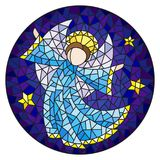 Stained glass illustration with an abstract angel in blue robe , round picture. Illustration in stained glass style with an abstract angel in blue robe , round vector illustration