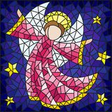Stained glass illustration with abstract angel in pink robe on a background of sky and stars. Illustration in the style of a stained glass window abstract angel stock illustration