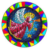 Stained glass illustration  with an abstract angel in pink robe blowing pipe , round picture frame in bright. Illustration in stained glass style with an Stock Photography
