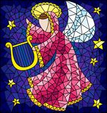 Stained glass illustration with abstract angel in pink robe with a harp in his hands at the sky and stars. Illustration in the style of a stained glass window royalty free illustration
