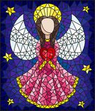 Stained glass illustration with abstract angel in pink robe with heart in hands on a background of sky and stars. Illustration in the style of a stained glass stock illustration