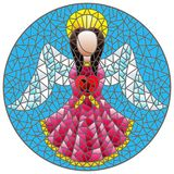 Stained glass illustration with an abstract angel in pink robe with a heart , round picture. Illustration in stained glass style with an abstract angel in pink royalty free illustration