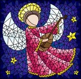 Stained glass illustration with abstract angel in pink robe, with lute in hand on a background of sky and stars. Illustration in the style of a stained glass vector illustration
