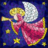 Stained glass illustration with abstract angel in pink robe with a pipe in hands on a background of sky and stars. Illustration in the style of a stained glass royalty free illustration