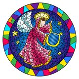 Stained glass illustration with an abstract angel in pink robe play the harp in bright frame , round picture. Illustration in stained glass style with an stock illustration