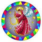 Stained glass illustration with an abstract angel in pink robe play the harp in bright frame , round picture. Illustration in stained glass style with an royalty free illustration