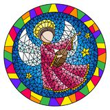 Stained glass illustration with an abstract angel in pink robe play the lute , round picture in a bright frame. Illustration in stained glass style with an vector illustration