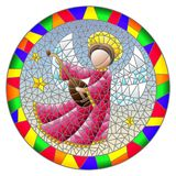 Stained glass illustration with an abstract angel in pink robe play the lute , round picture in a bright frame. Illustration in stained glass style with an royalty free illustration
