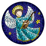 Stained glass illustration with an abstract angel in pink robe play the lute , round picture. Illustration in stained glass style with an abstract angel in pink stock illustration