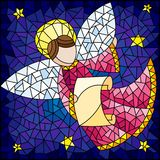 Stained glass illustration with abstract angel in pink robe with a scroll in the sky and stars. Illustration in the style of a stained glass window abstract vector illustration