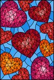 Stained glass illustration , abstract background with hearts on blue background. Illustration in stained glass style, abstract background with hearts on blue Vector Illustration