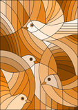 Stained glass illustration  with abstract birds ,Sepia,tone brown, Royalty Free Stock Image