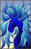 Stained glass illustration with abstract blue face of his horse with developing mane on sky background. Illustration in stained glass style with abstract blue royalty free illustration