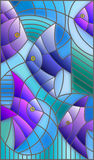 Stained glass illustration abstract  blue fishes Royalty Free Stock Image