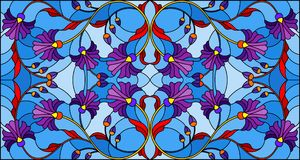 Stained glass illustration with abstract blue flowers on a blue background,horizontal orientation. Illustration in stained glass style with abstract blue flowers Stock Illustration