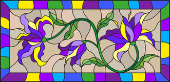 Stained glass illustration  with abstract blue flowers on a beige background in a bright frame Stock Image