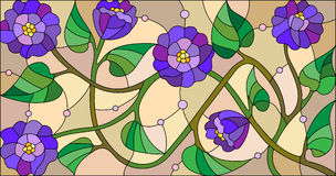 Stained glass illustration with abstract blue flowers on a beige background Stock Photography
